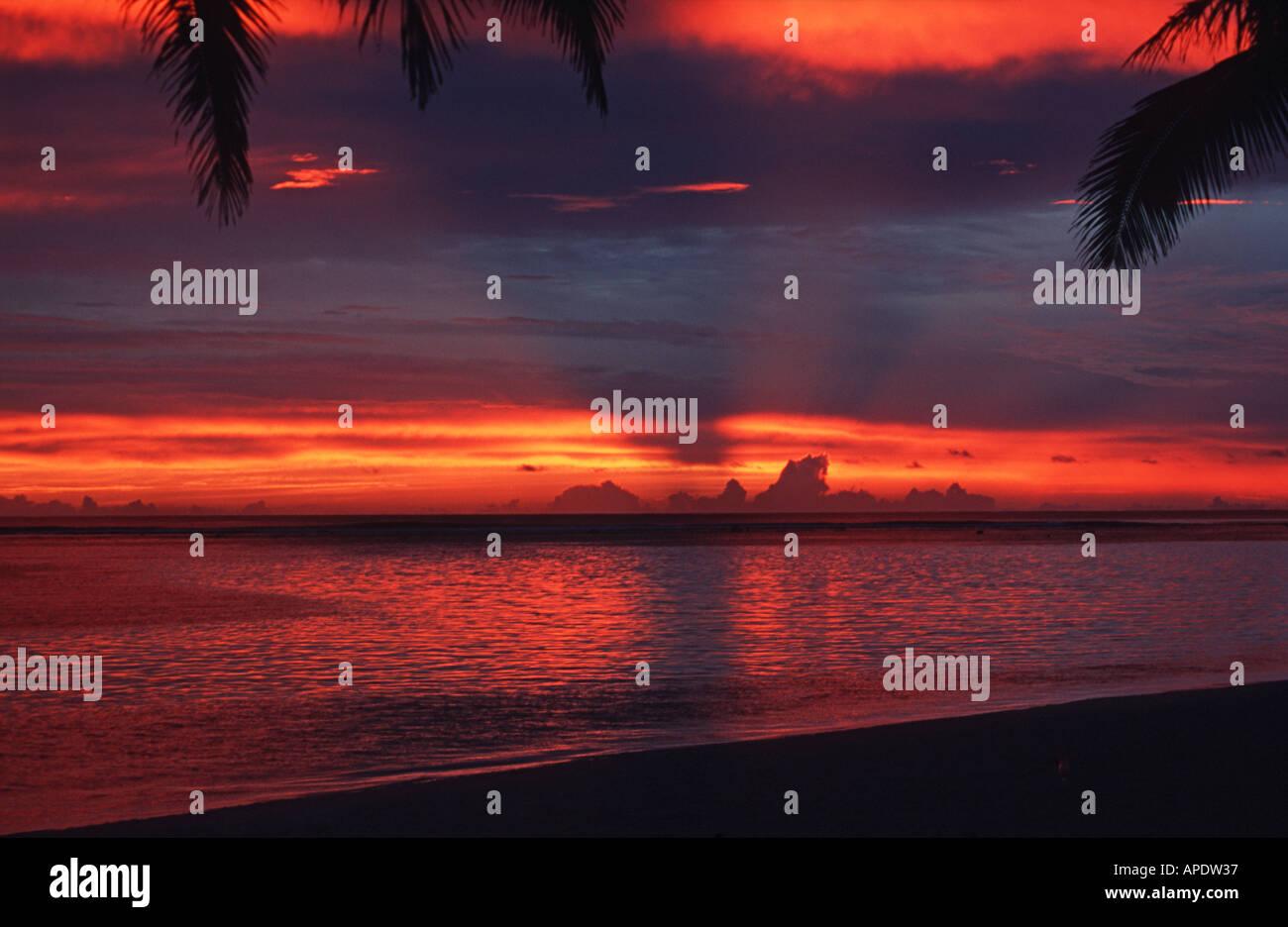 Spectacular sunset Rarotonga Cook Islands Polynesia Pacific - Stock Image