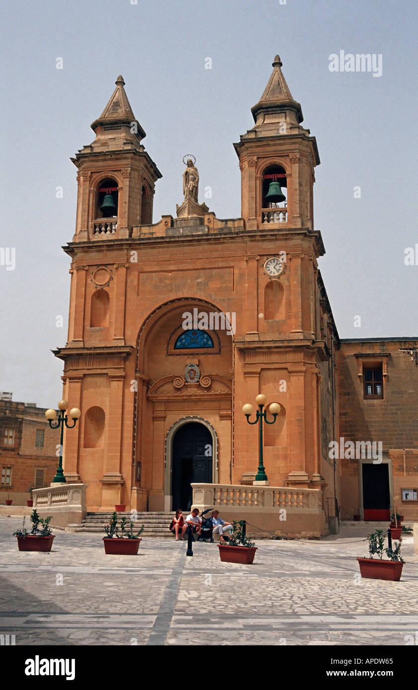Facade of the Our Lady of Pompeii church in Marsaxlokk A traditional fishing community Malta - Stock Image