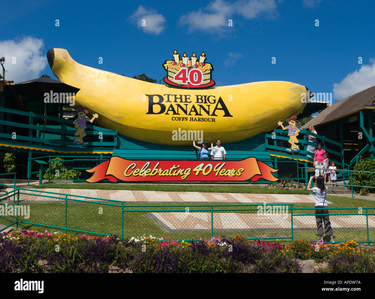 The Big Banana celebrating 40 years as a major tourist attraction at Coffs Harbour on the Pacific coast of NSW Australia Stock Photo
