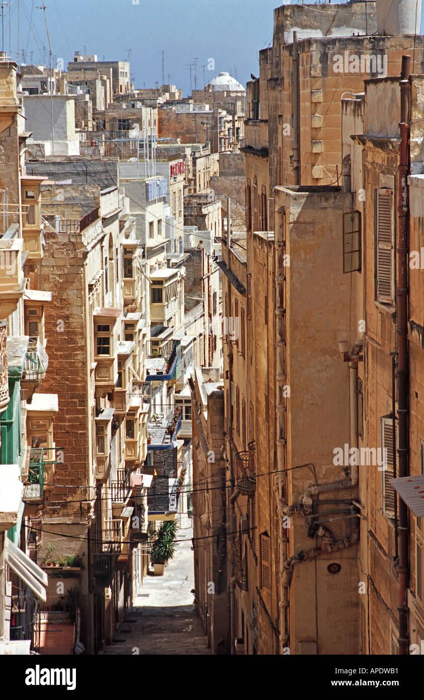 Narrow picturesque street Valletta Malta - Stock Image