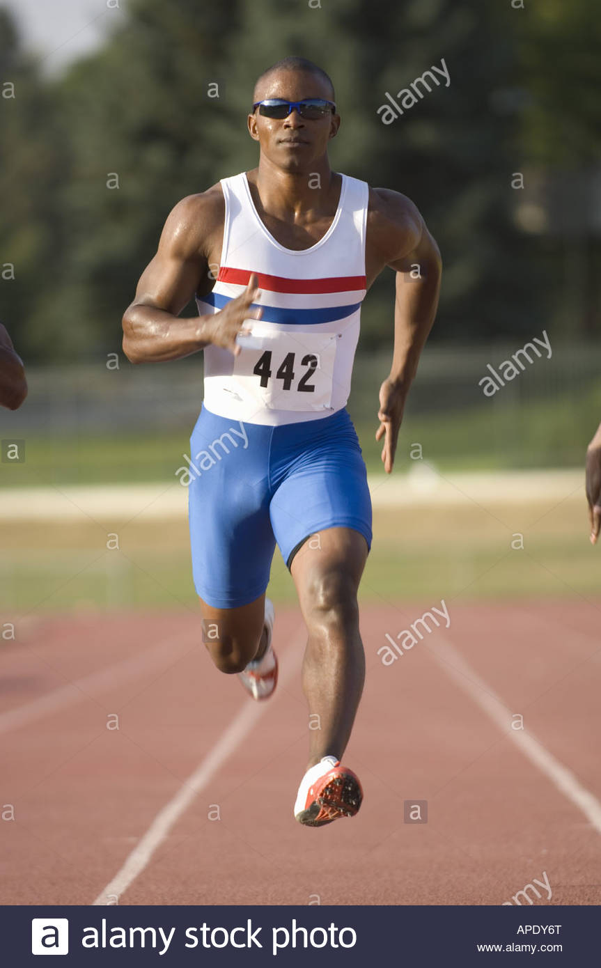 African male athletes running race - Stock Image