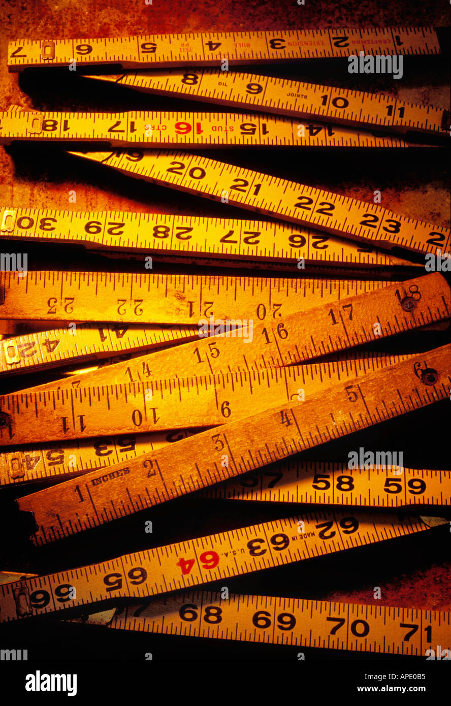 Old wooden rulers - Stock Image