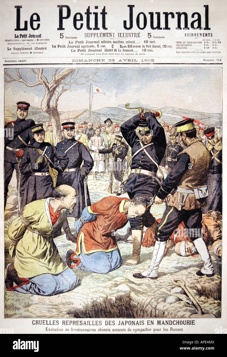 Russo-Japanese War, 1904/1905, Japanese executing Chinese collaborators, coloured engraving, titel, 'Le Petit - Stock Image