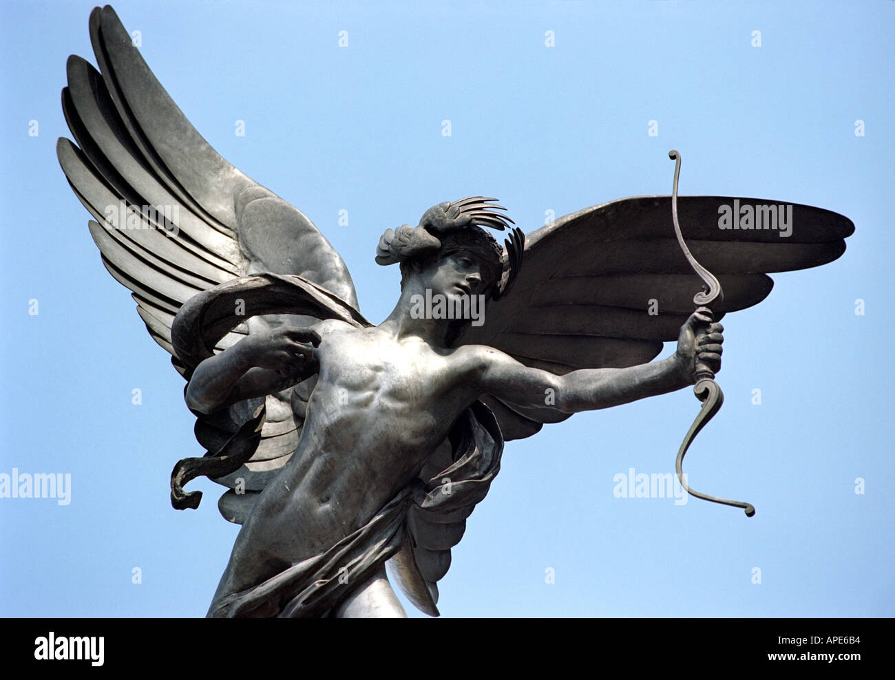 The statue of Eros in Piccadilly Circus in London England UK - Stock Image