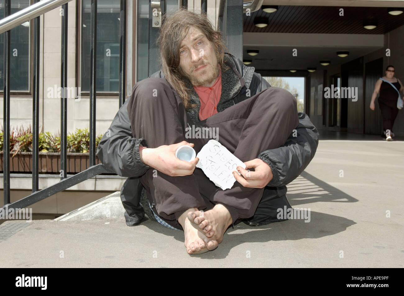 Beggar in  London - Stock Image