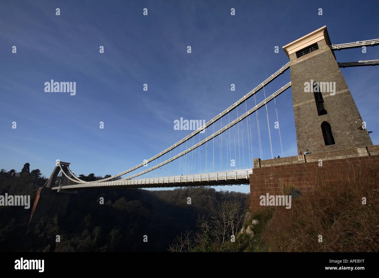 Isambard Kingdom Brunel's Clifton Suspension Bridge spanning the Avon Gorge. Bristol. Somerset. England. UK. - Stock Image