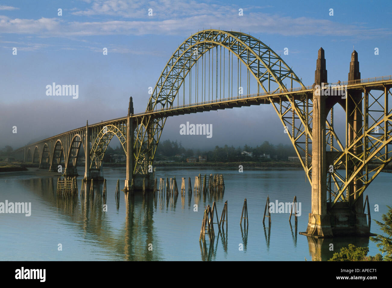 Yaquina Bay Bridge and fog in morning light type Arch ...