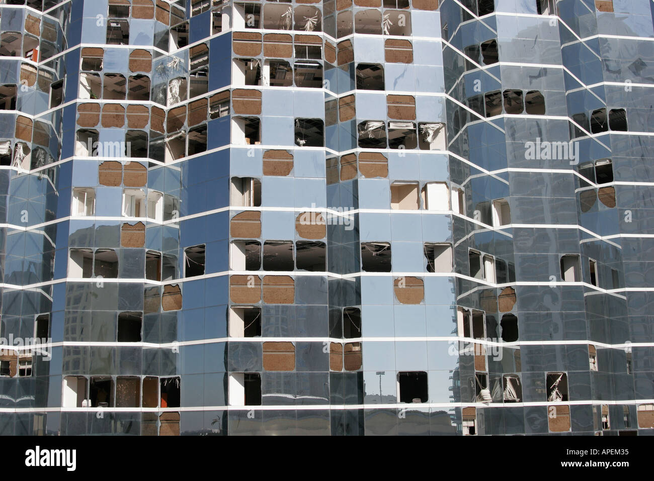 hurricane windows miami miami florida brickell avenue office building broken windows hurricane wilma stock