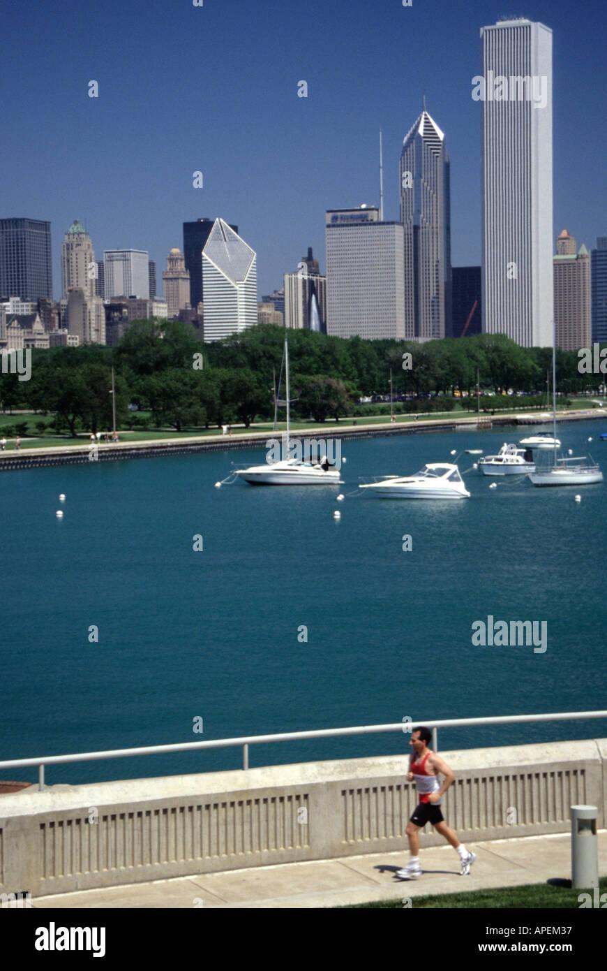 Skyline Skyscraper Lake Michigan Boat Jogger Chicago Illinois
