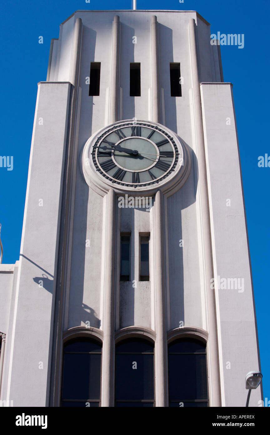 Clock tower, San Francisco Chronicle building, San Francisco, California - Stock Image