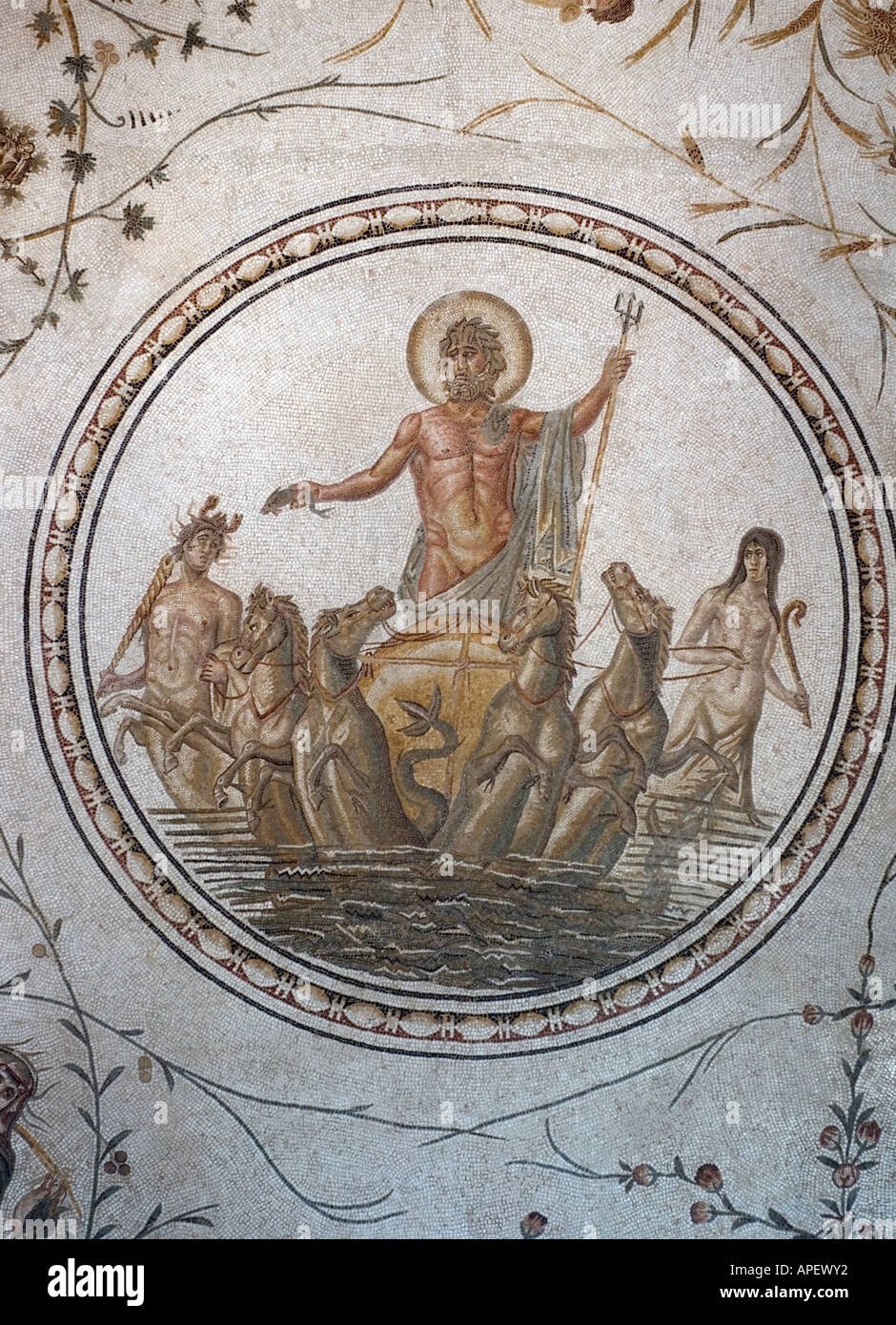 Art works in the museum of Bardo, in Tunis, Tunisia. Here is a Roman mosaic. Stock Photo