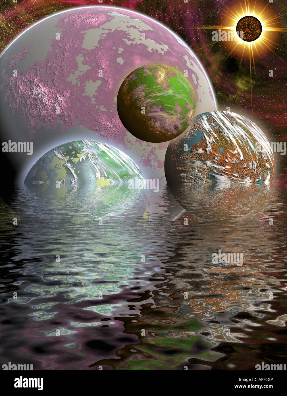 Surreal Scene Of Colorful Planets Floating And Half