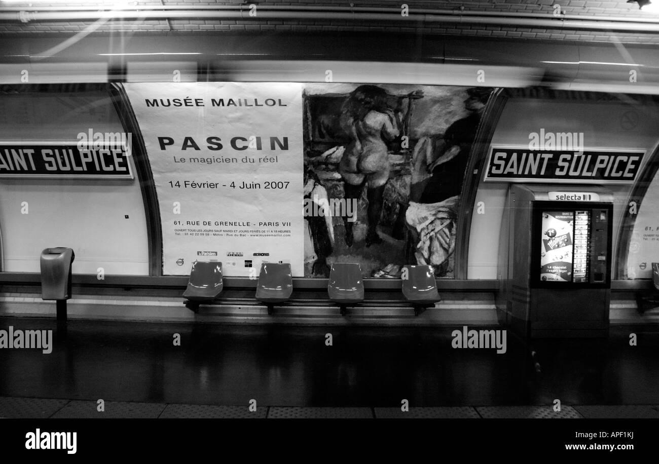 Saint Sulpice Metro Station, Paris, France - Stock Image