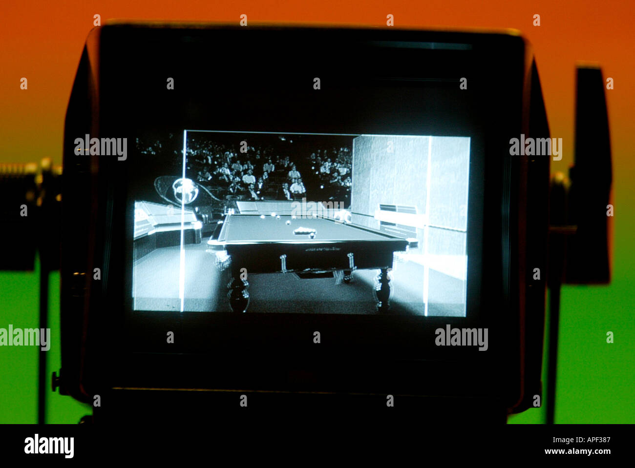 View of the 2004 World Snooker Championship table through a television camera monitor - Stock Image