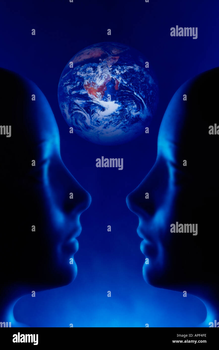 Aliens And Earth two humanoid heads with planet earth in back ground - Stock Image