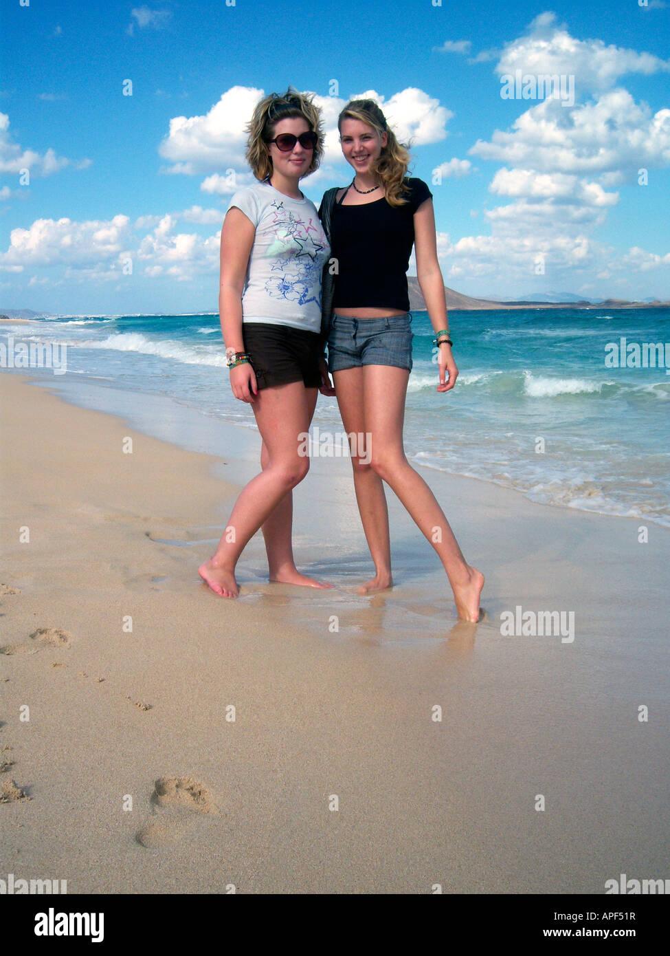 2 Teenage Girls Posing At The Beach Of Corralejo Fuerteventura Spain Photo By Willy Matheisl