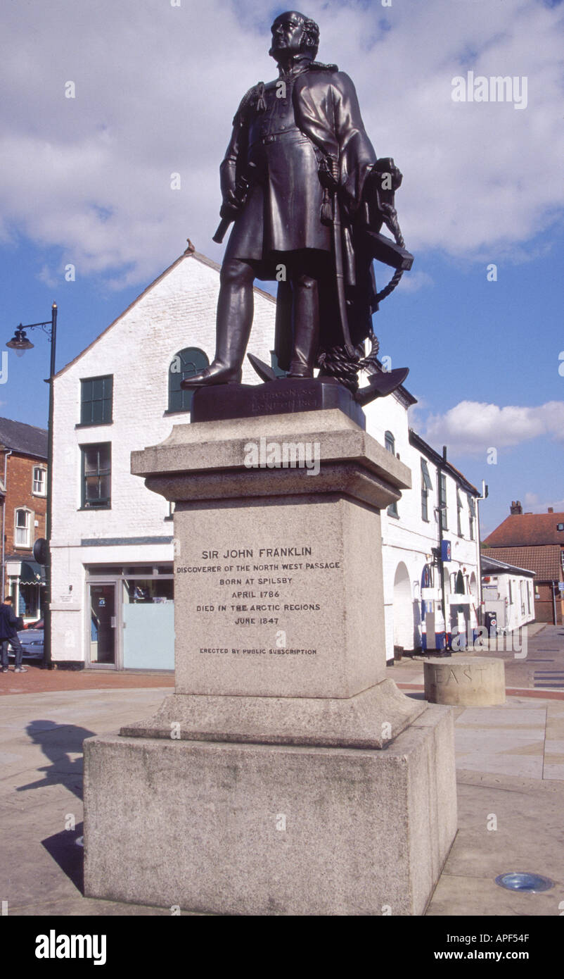 STATUE OF SIR JOHN FRANKLIN EXPLORER AND DISCOVERER OF THE NORTH WEST PASSAGE SPILSBY LINCOLNSHIRE ENGLAND UK - Stock Image