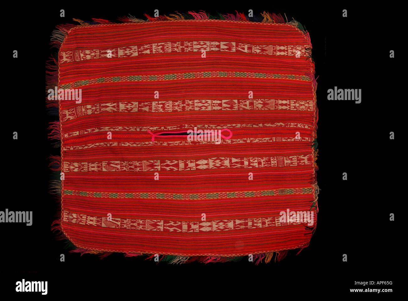 Detail of colourful warp striped Andean garment from Peru - Stock Image