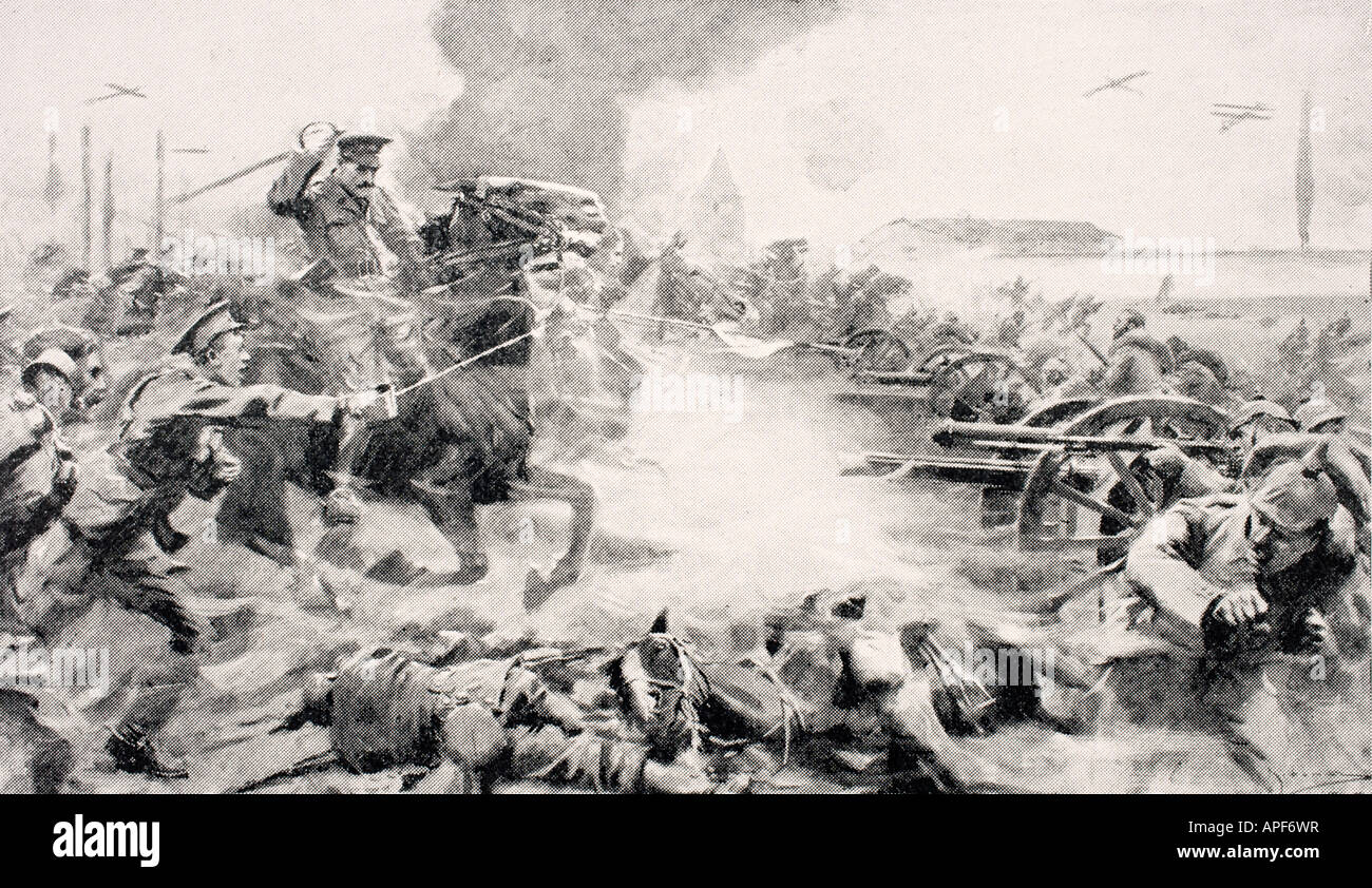 Captain F O Grenfell VC leading charge of 9th Lancers on August 24 1914 to retake captured guns near Doubon - Stock Image