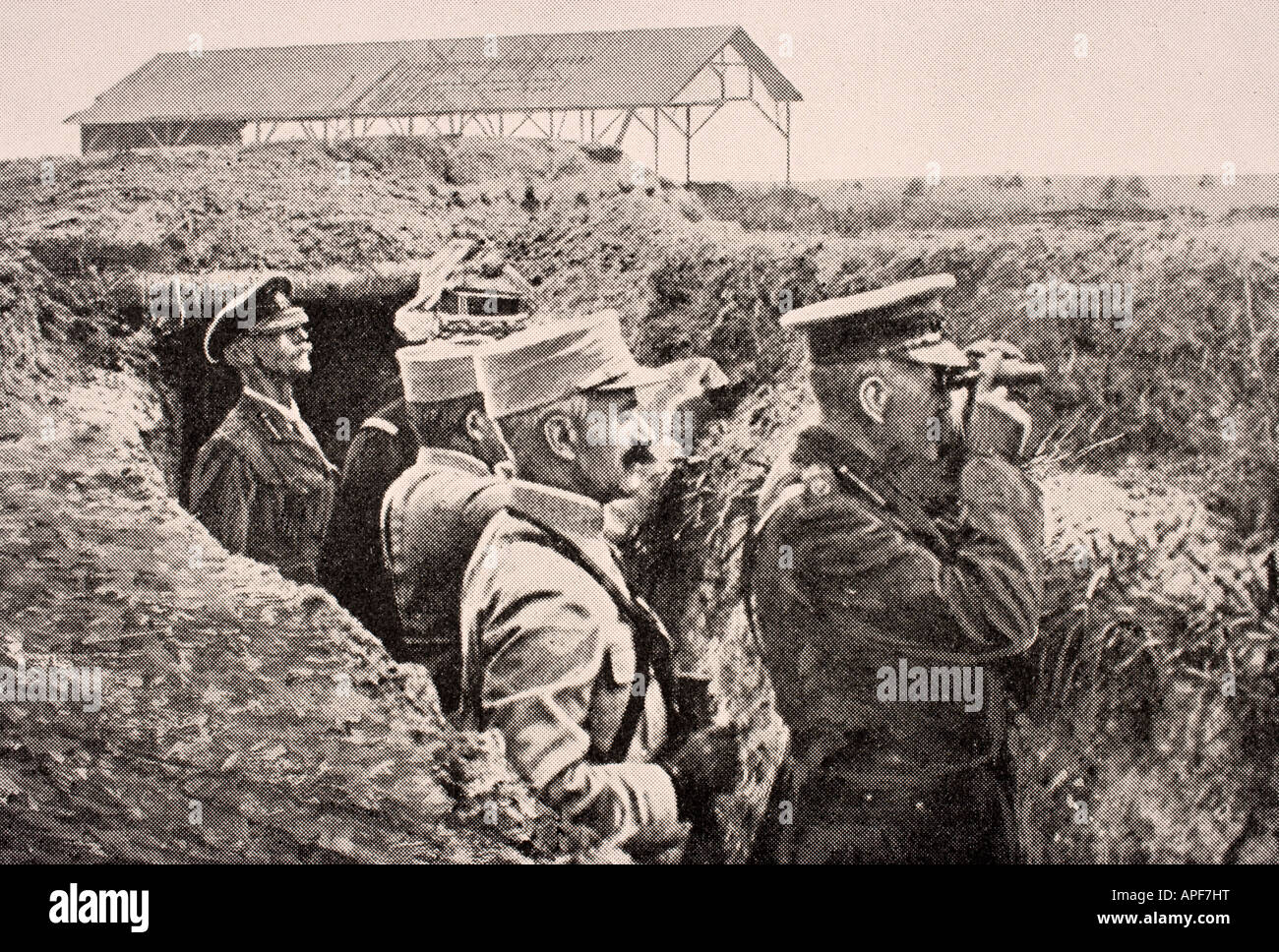 Lord Kitchener with binoculars with General Joffre in trench on Western Front August 1915 - Stock Image