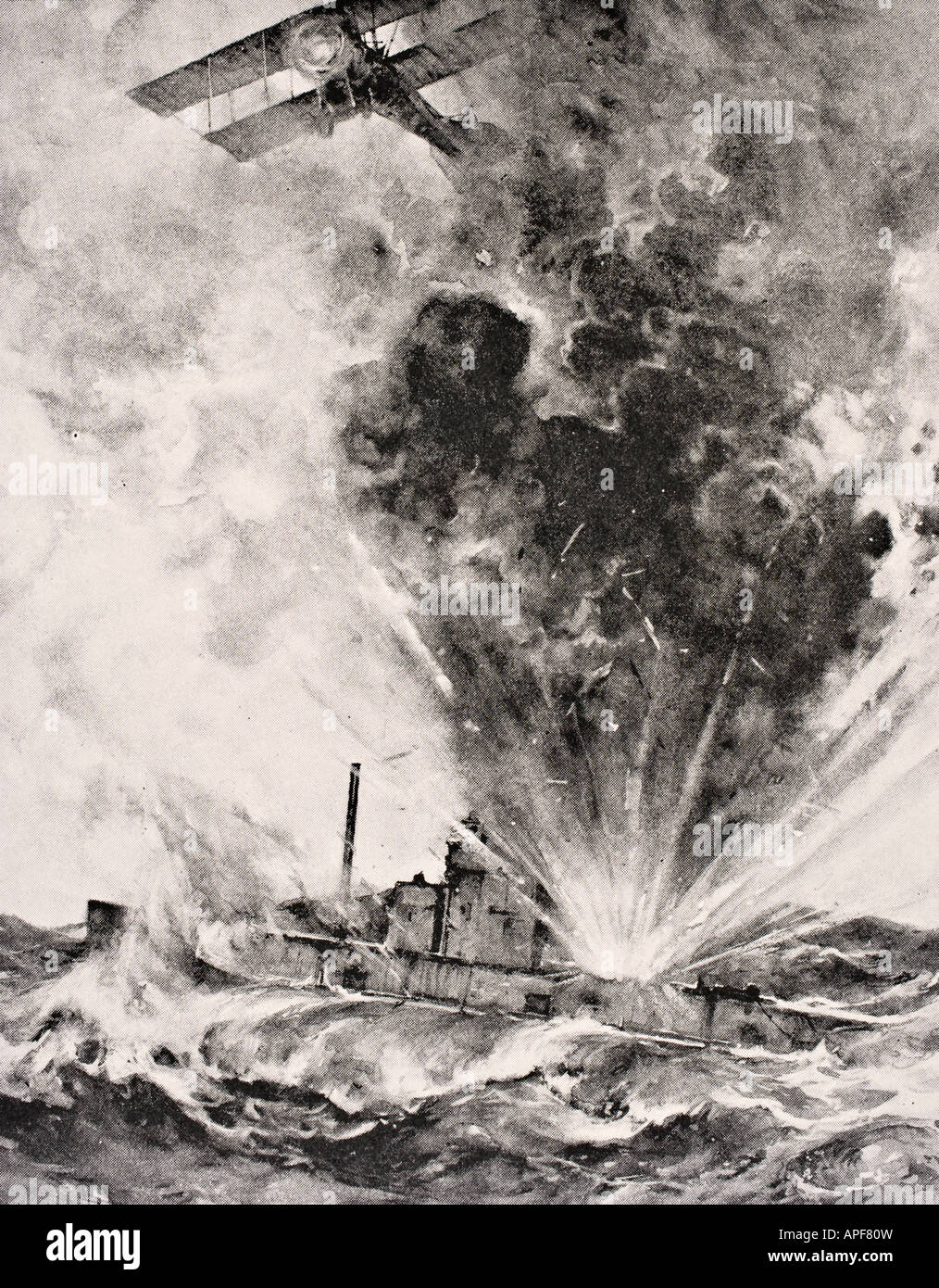 German submarine bombed and sunk August 26 1915 by Squadron Commander Arthur Wellesley Bigsworth R N - Stock Image