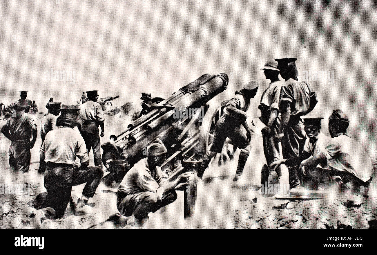 British battery at work on Gallipoli Peninsula Turkey - Stock Image