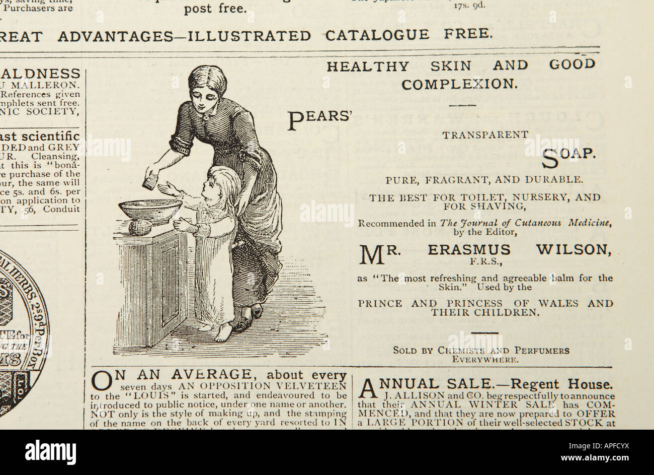 Victorian advert for Pears soap published in The Graphic newspaper in 1880 - Stock Image