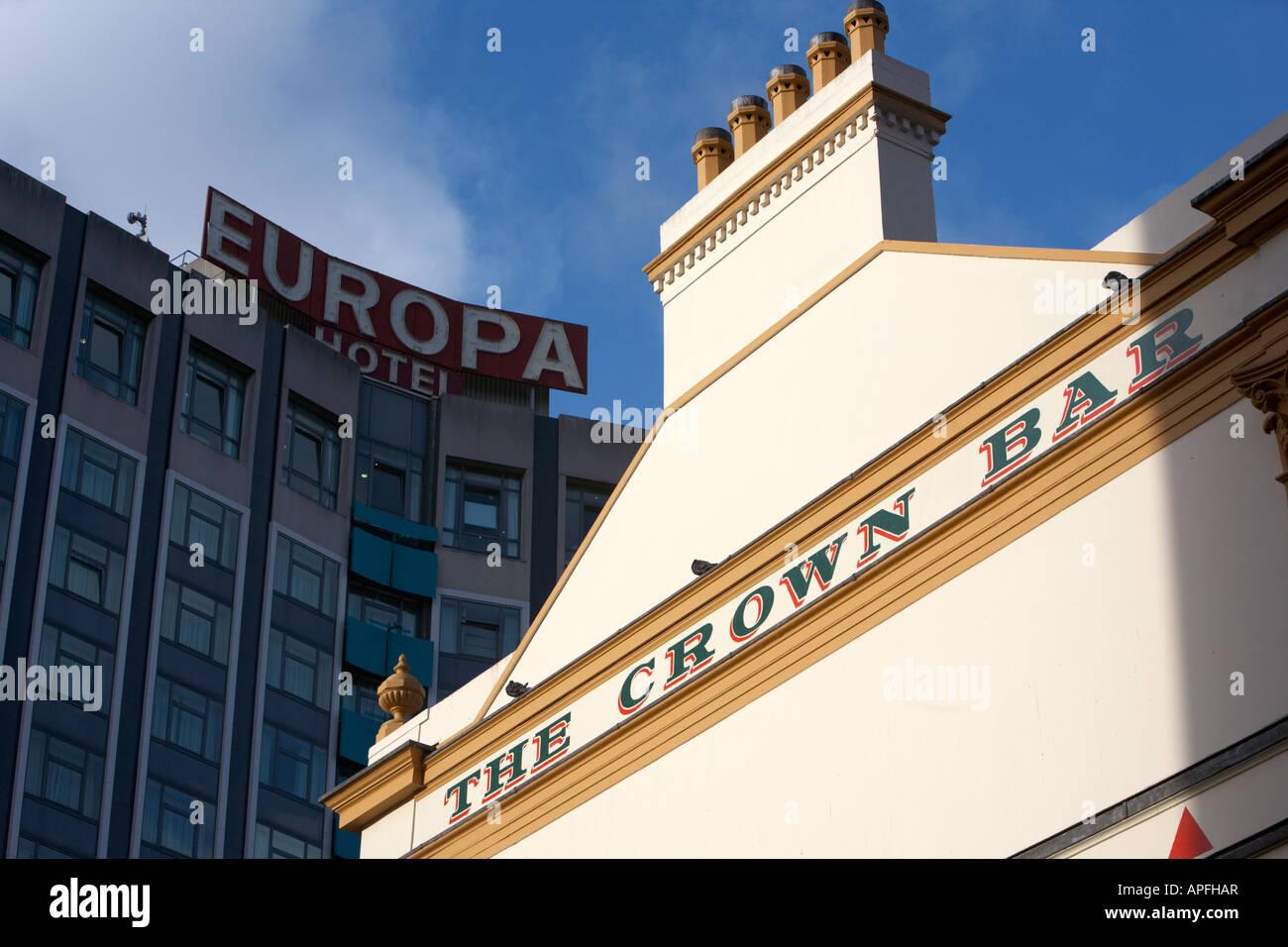 side of the crown bar beneath the europa hotel Belfast county antrim northern ireland uk - Stock Image