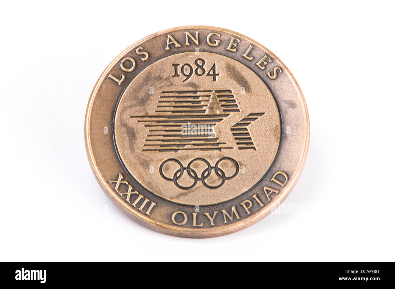 1984 los angeles olympic medallion - Stock Image