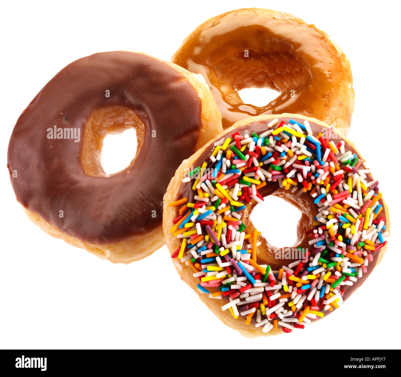 THREE DOUGHNUTS CUT OUT - Stock Image