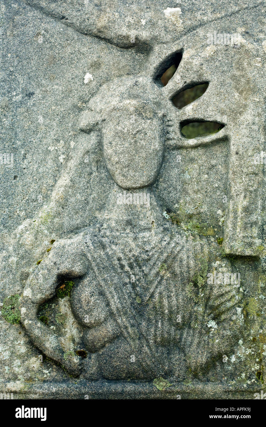 Detail of one of the altar stones in the Mithraic temple of Brocolitia along the route of Hadrian's Wall in - Stock Image