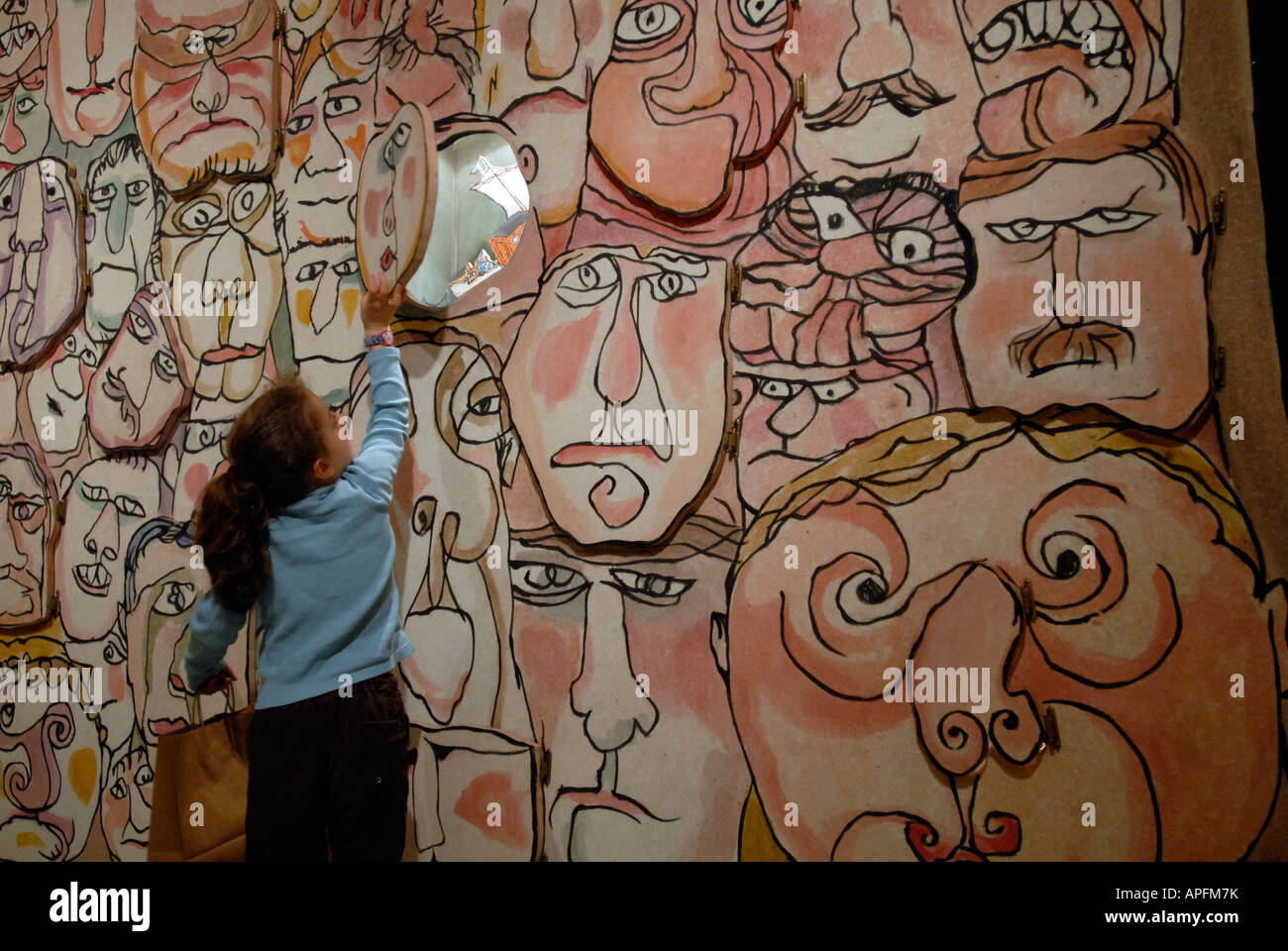 Play the Face Game at the William Steig exhibit at the Jewish Museum in NYC - Stock Image