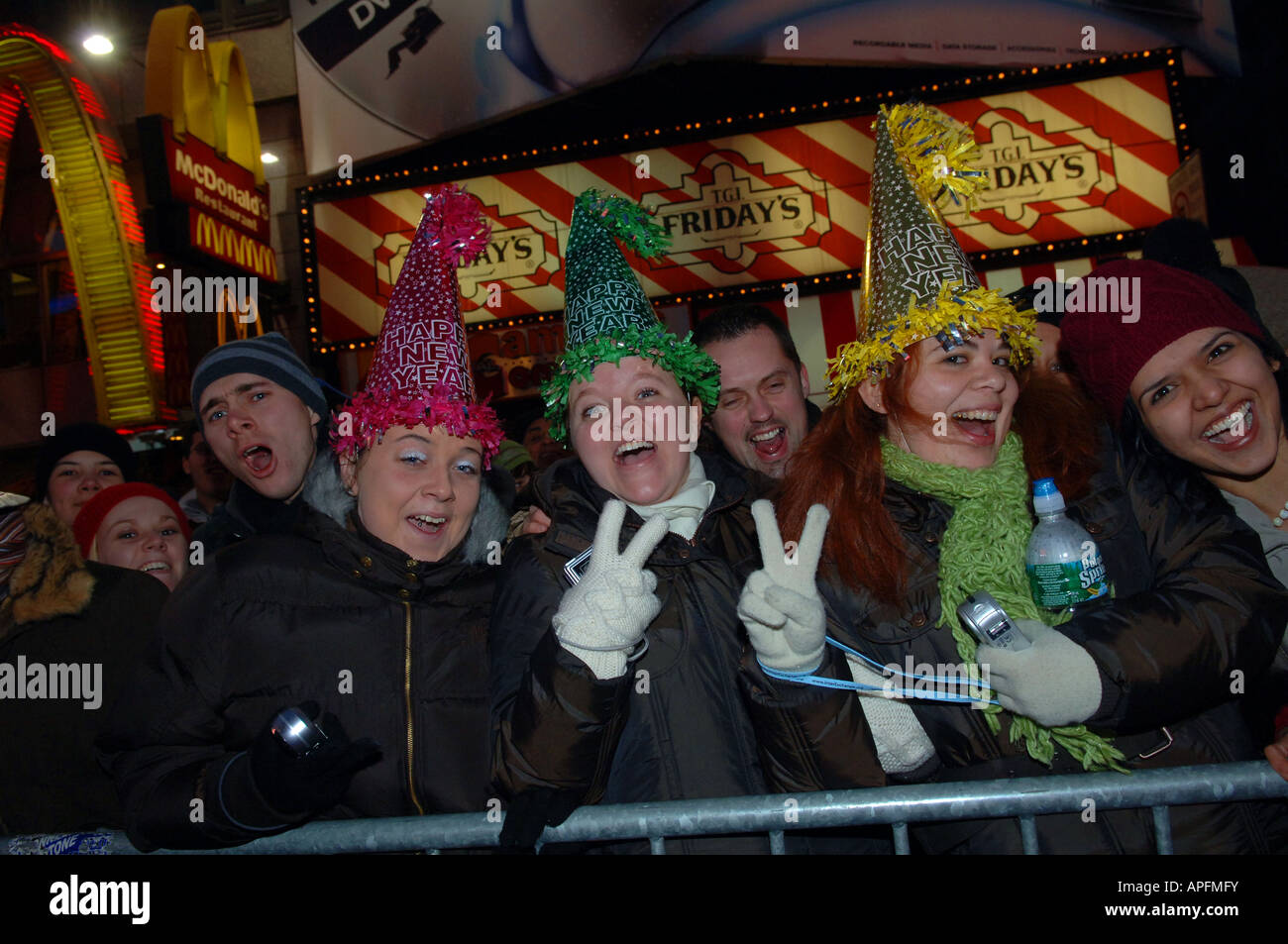 Celebrants in Times Square on New Year s Eve say goodbye to 2007 and welcome 2008 - Stock Image