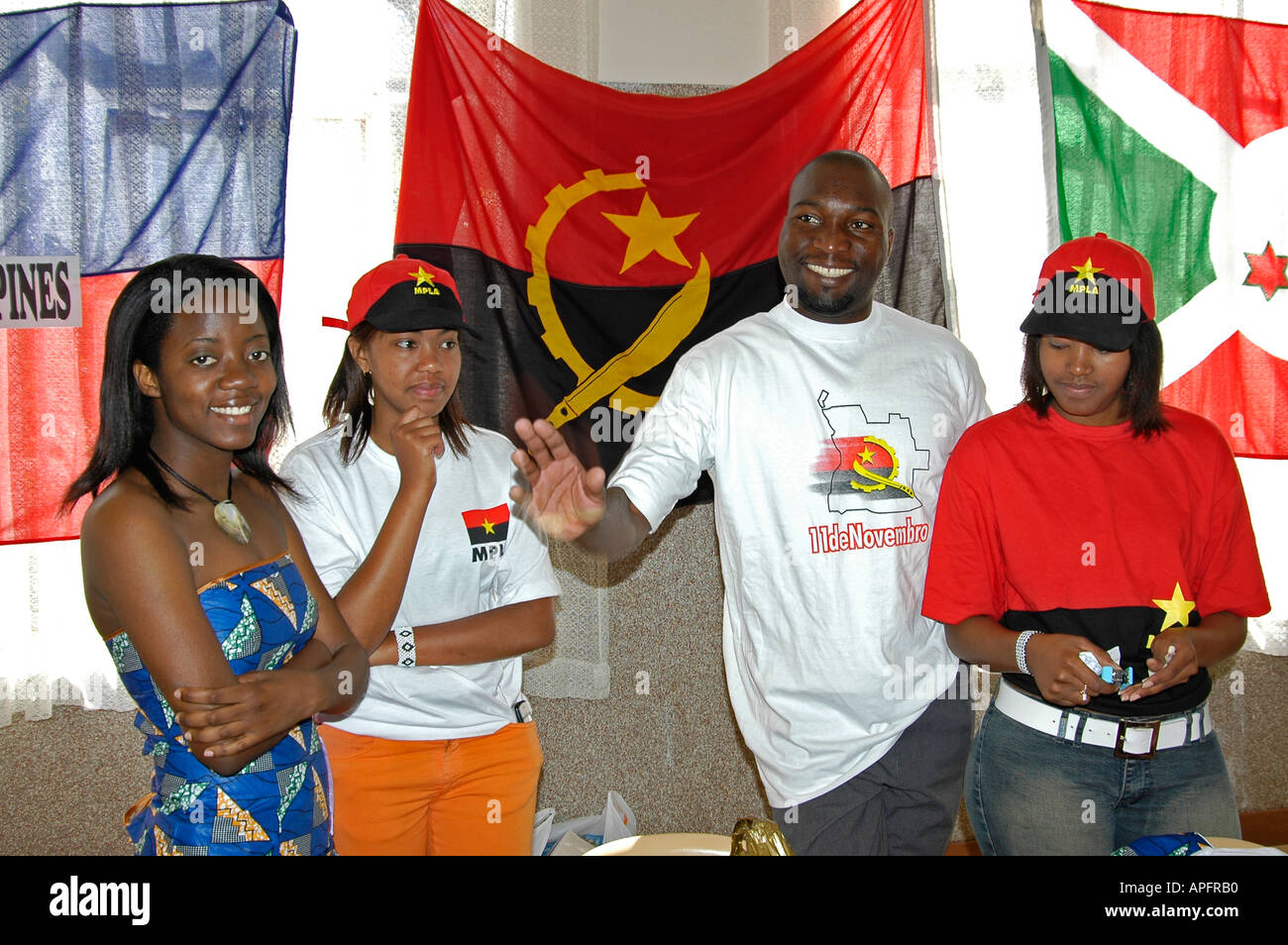 Angolan students celebrating their culture in South Africa - Stock Image