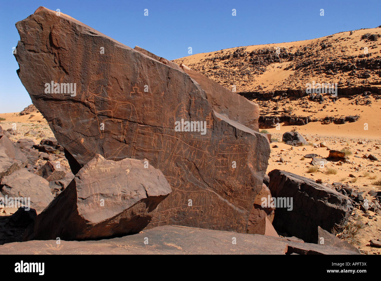 El Ghelouiya  Prehistoric site Sahara desert Mauritania - Stock Image