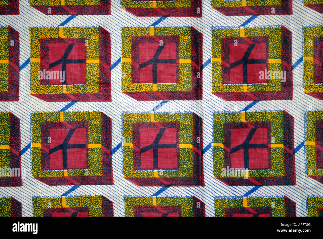 Detail of a batik style stamped fabric from Nigeria West Africa - Stock Image