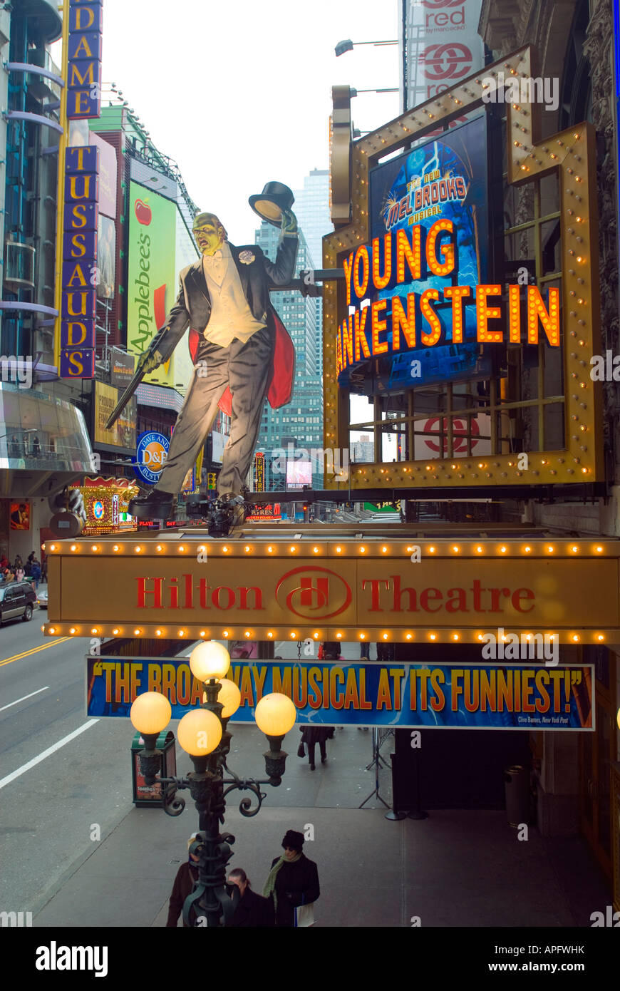 The marquee for the new Mel Brooks musical Young Frankenstein is seen on the Hilton Theatre on 42nd st in Times - Stock Image