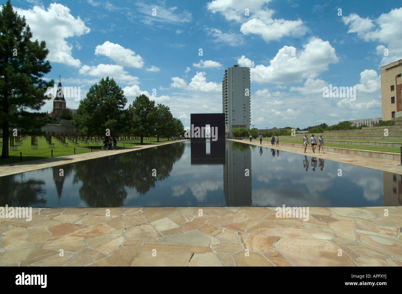 The Reflecting Pool in the Outdoor Symbolic Memorial of the Oklahoma City National Memorial. Stock Photo