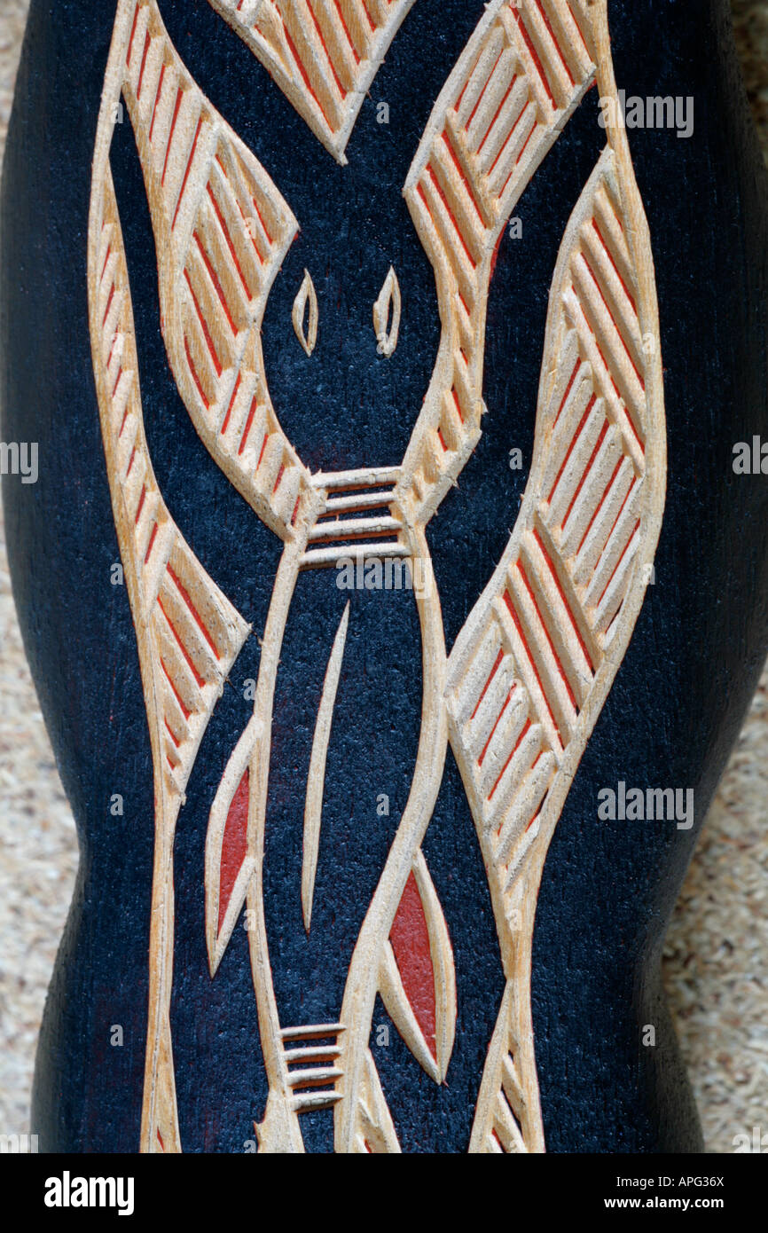 Traditional Australian aboriginal primitive art wood carving of  symbolic beetle. - Stock Image