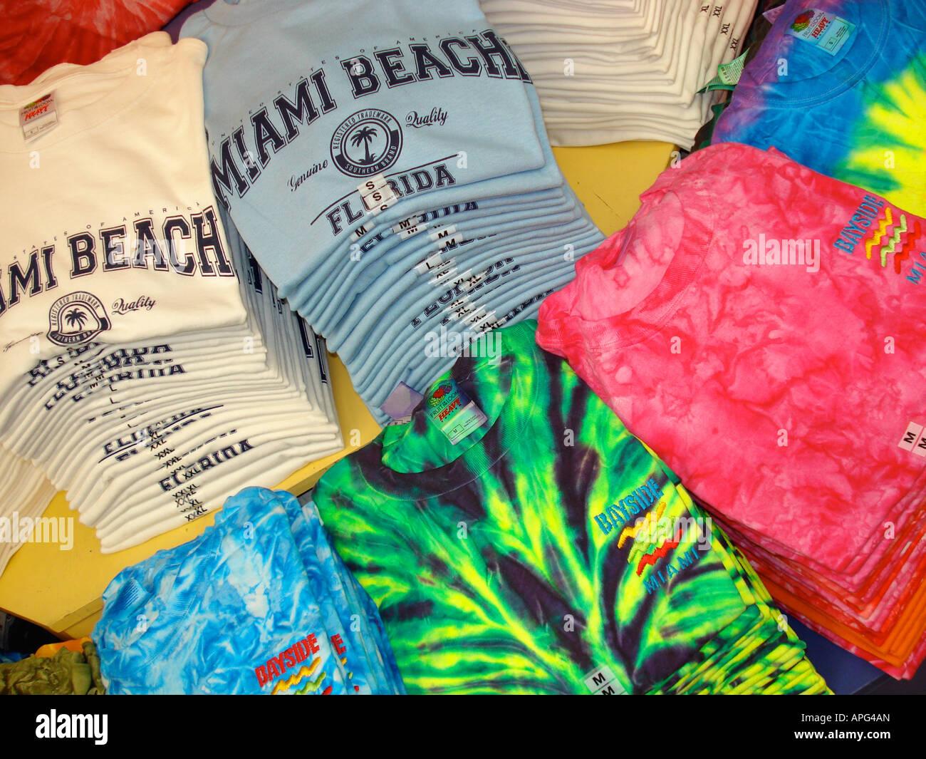 Tee shirts at Bayside Market, Miami, Florida - Stock Image