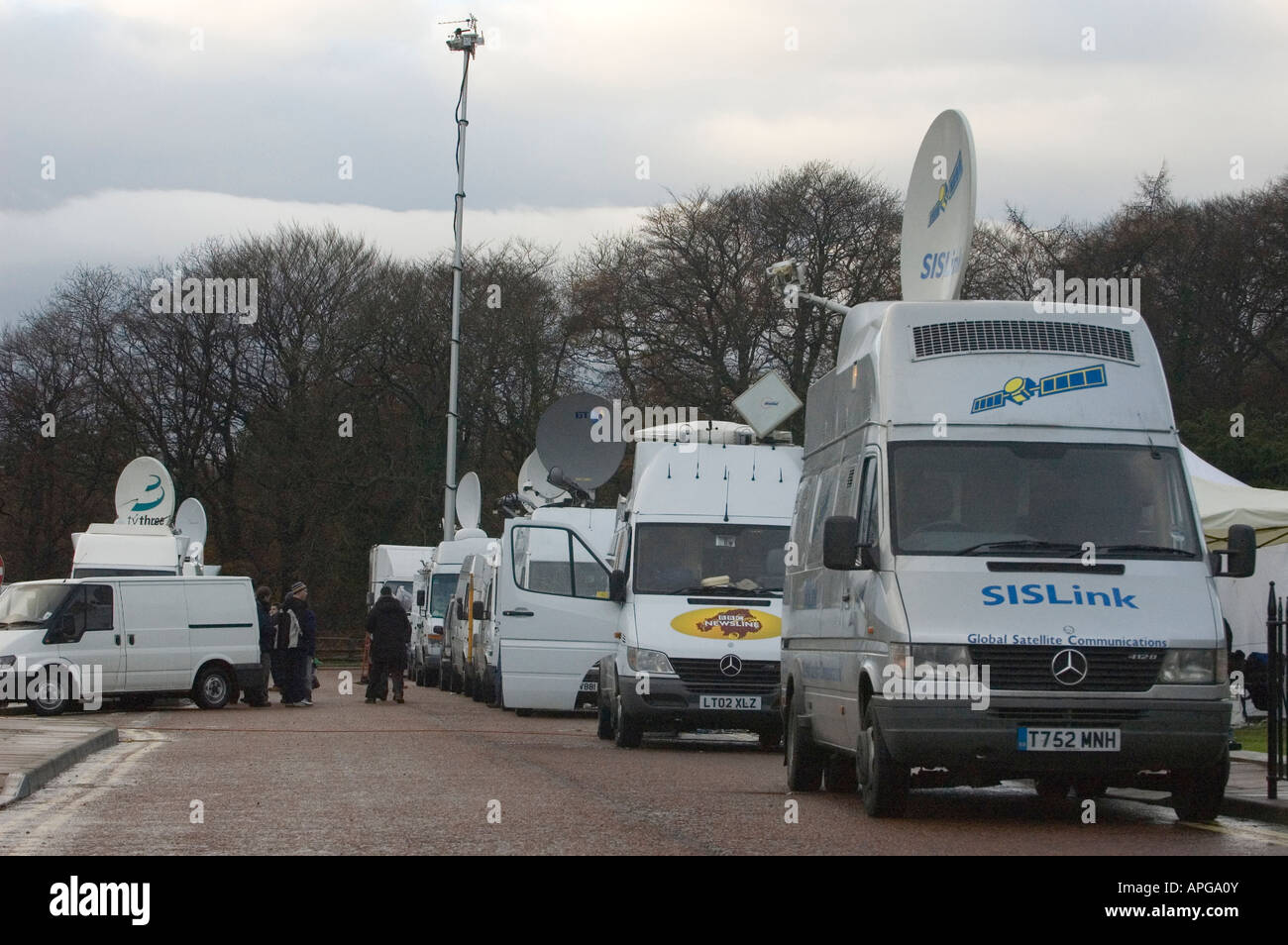 Satellite News Vehicles at a news event in Northern Ireland Stock Photo