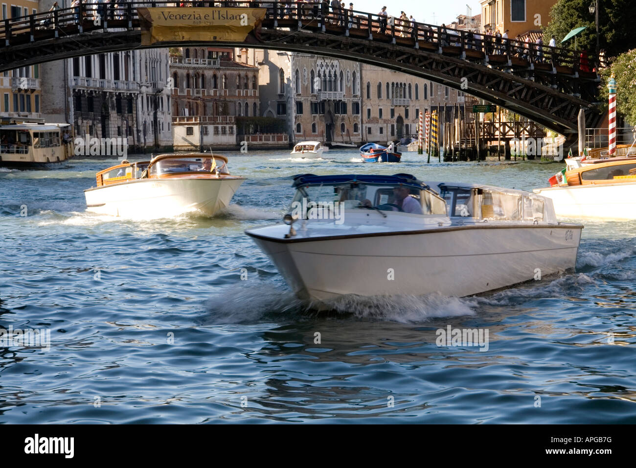 Academia Bridge and Water Taxis, Grand Canal, Venice (03) Italy - Stock Image