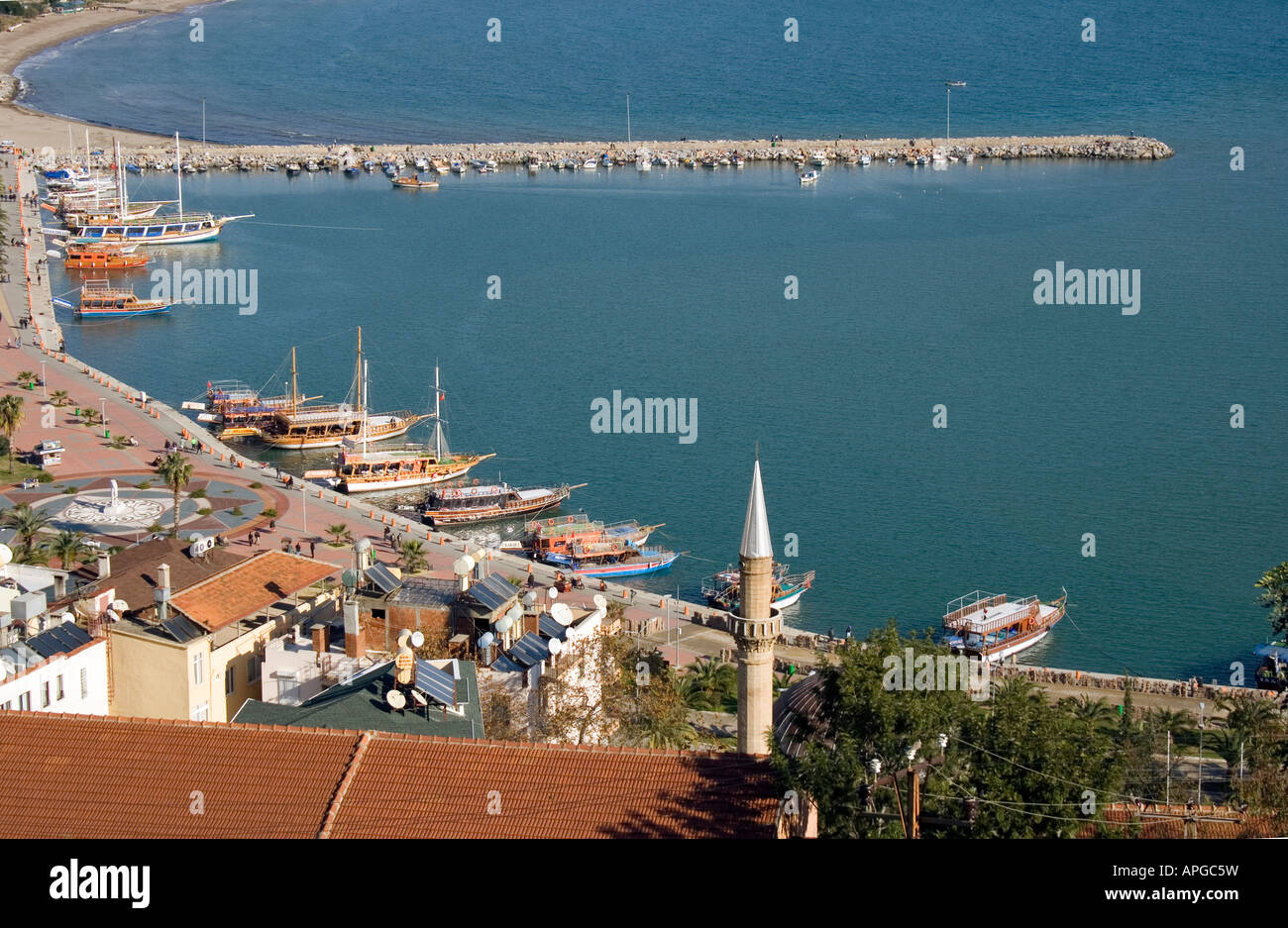 City View and Harbour of Alanya - Stock Image