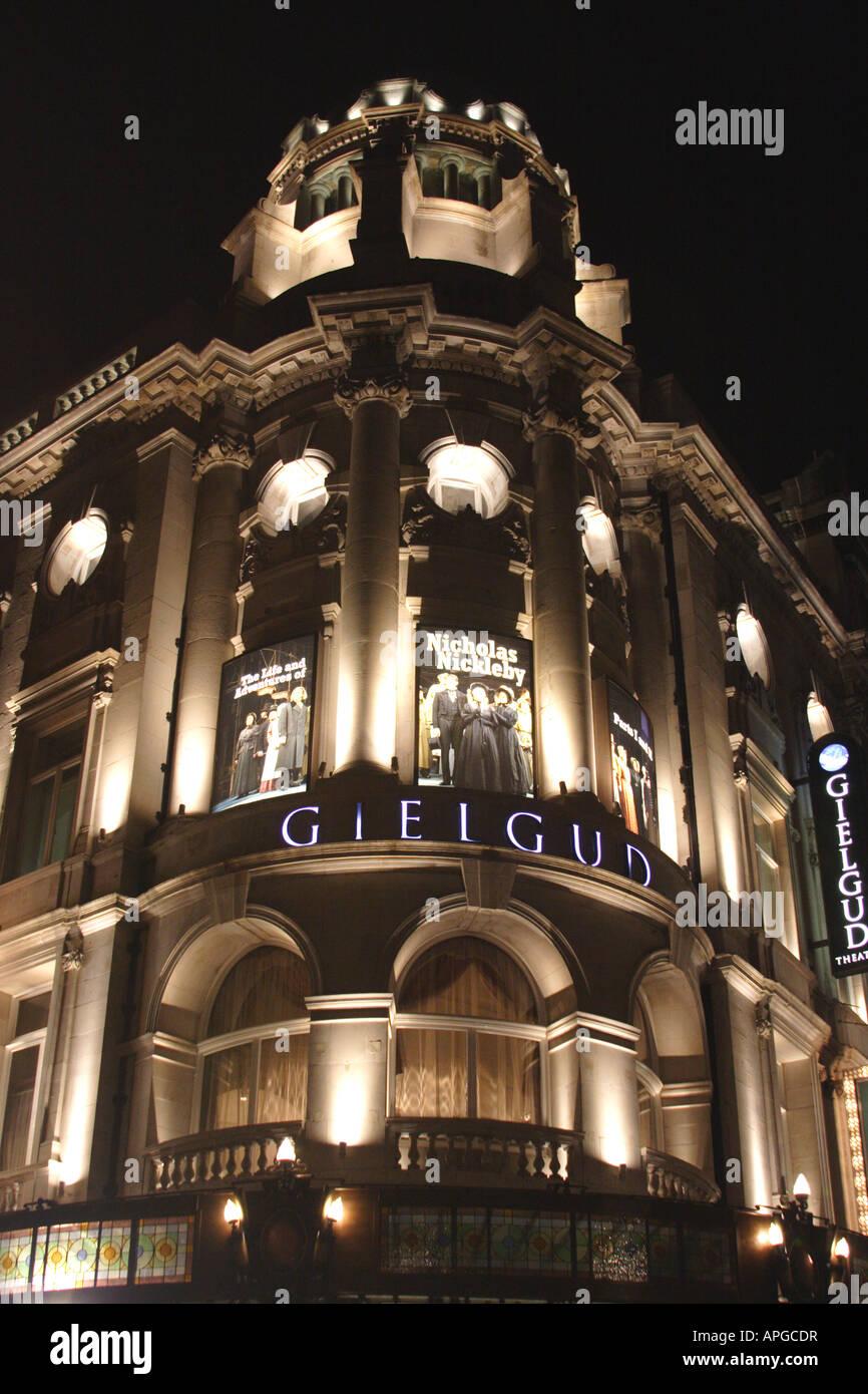 Gielgud theatre Shaftesbury Avenue London at night January 2008 - Stock Image