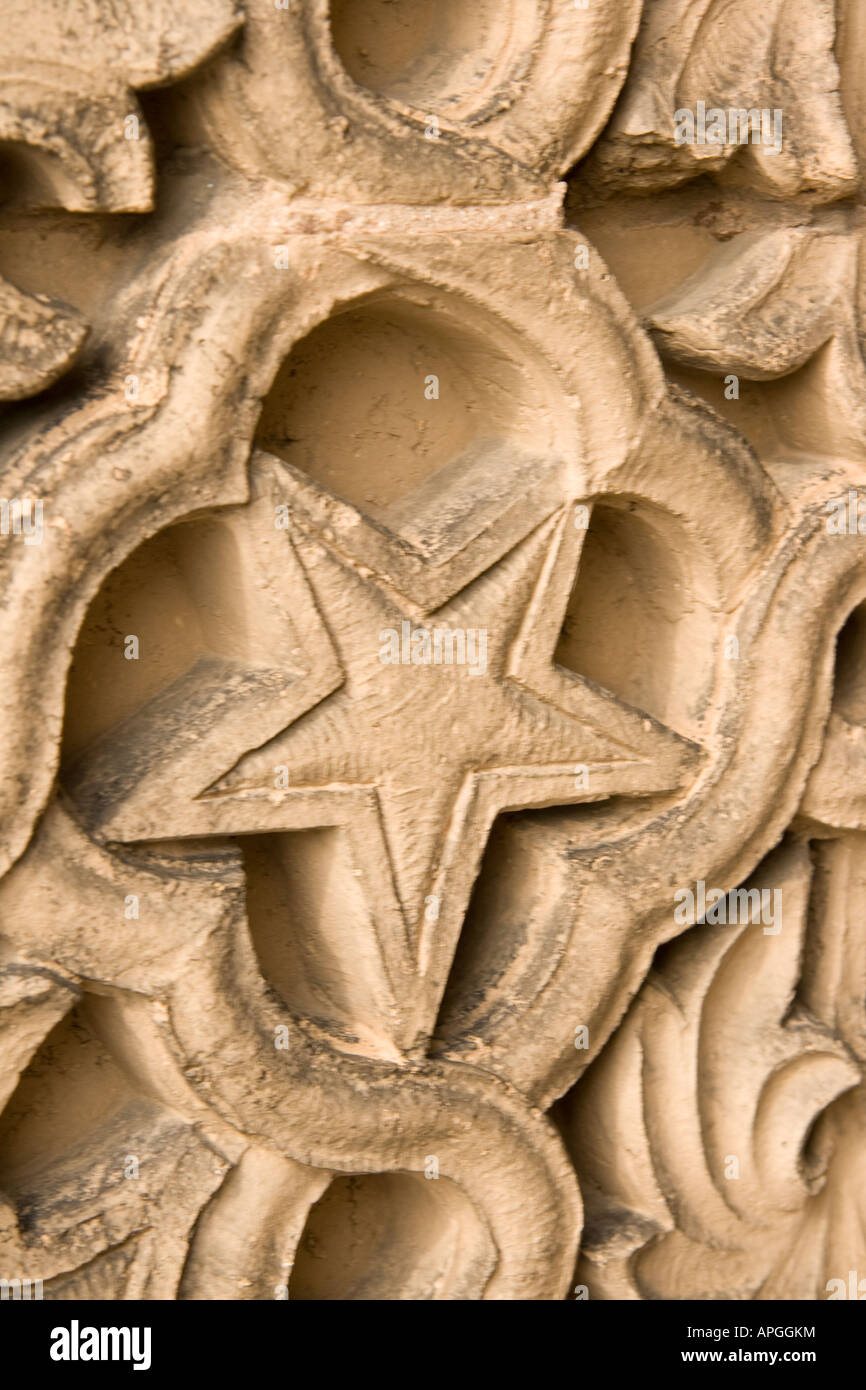 Detail of carved pillar with astrological symbol of star - Stock Image