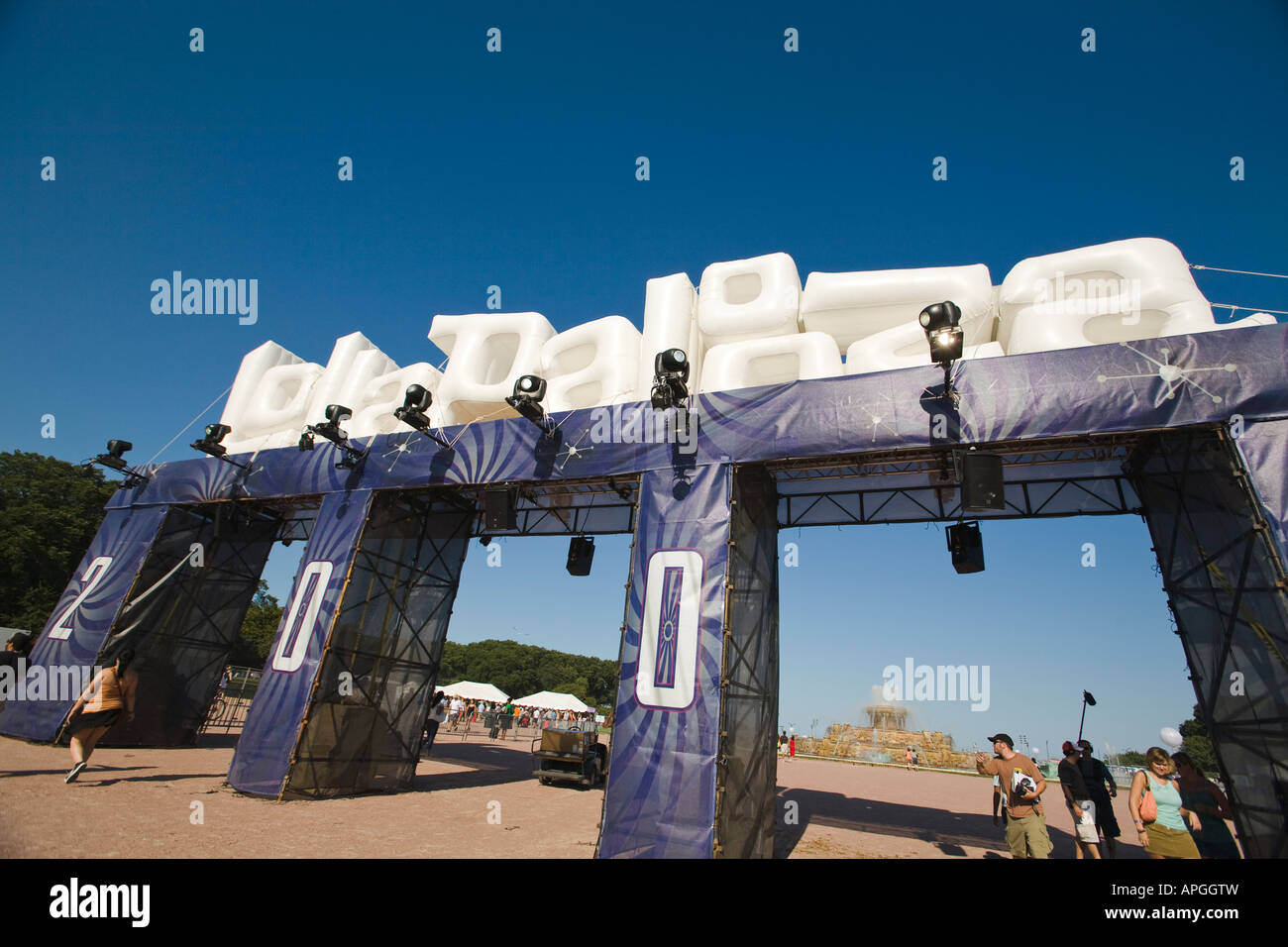 ILLINOIS Chicago Inflatable entrance to Lollapalooza musical concert in Grant Park near Buckingham Fountain - Stock Image