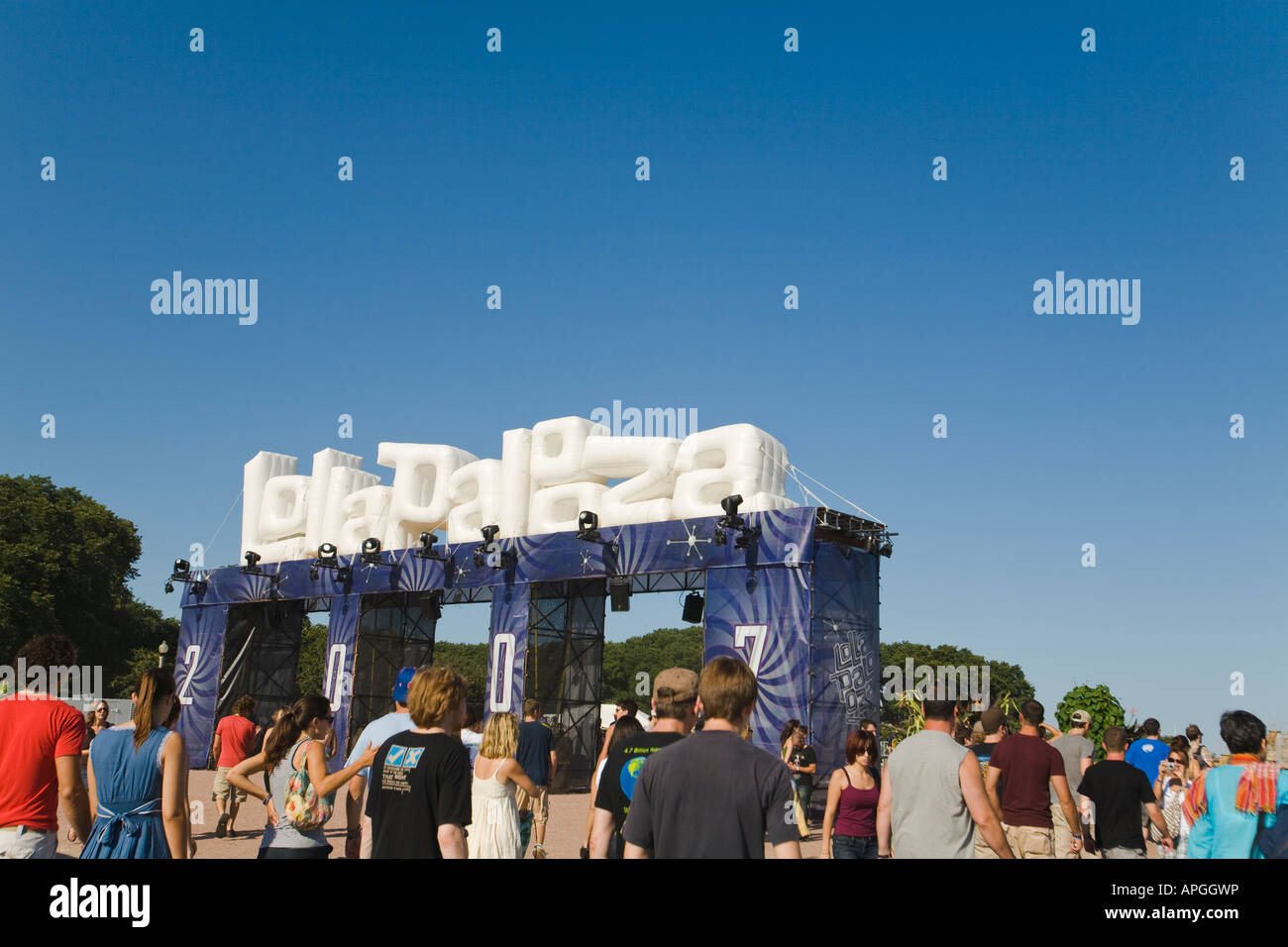 ILLINOIS Chicago Inflatable entrance to Lollapalooza musical concert in Grant Park crowd of young adults - Stock Image