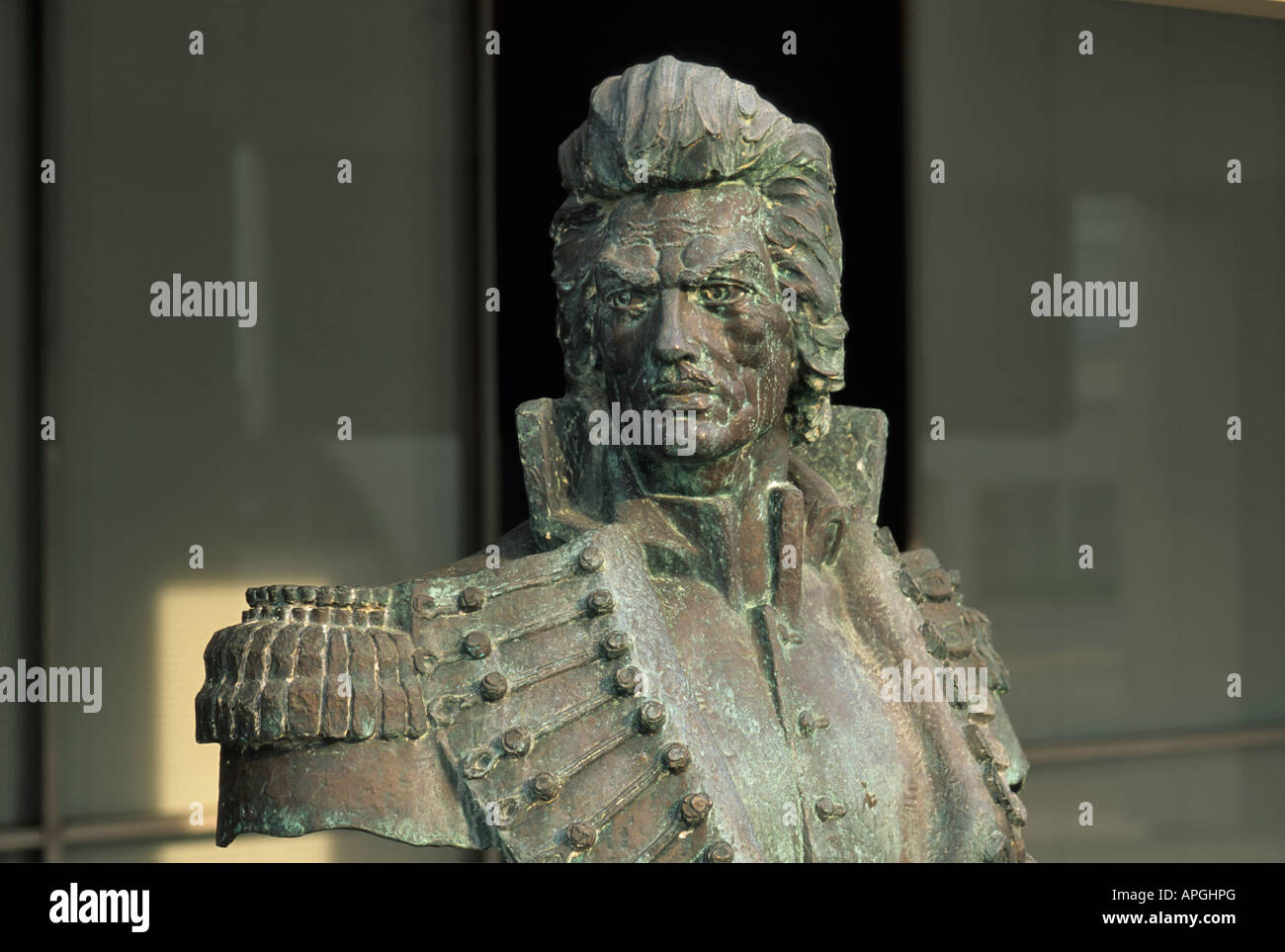 Bust of Casimir Pulaski, a Polish military commander and American Revolutionary War hero, in Little Rock Arkansas Stock Photo
