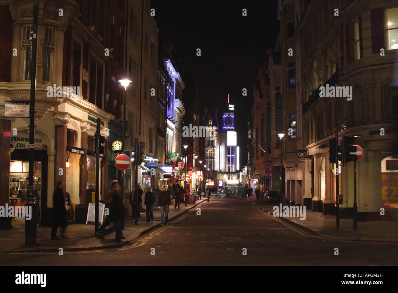 Street scene Shaftesbury Avenue London at night January 2008 - Stock Image