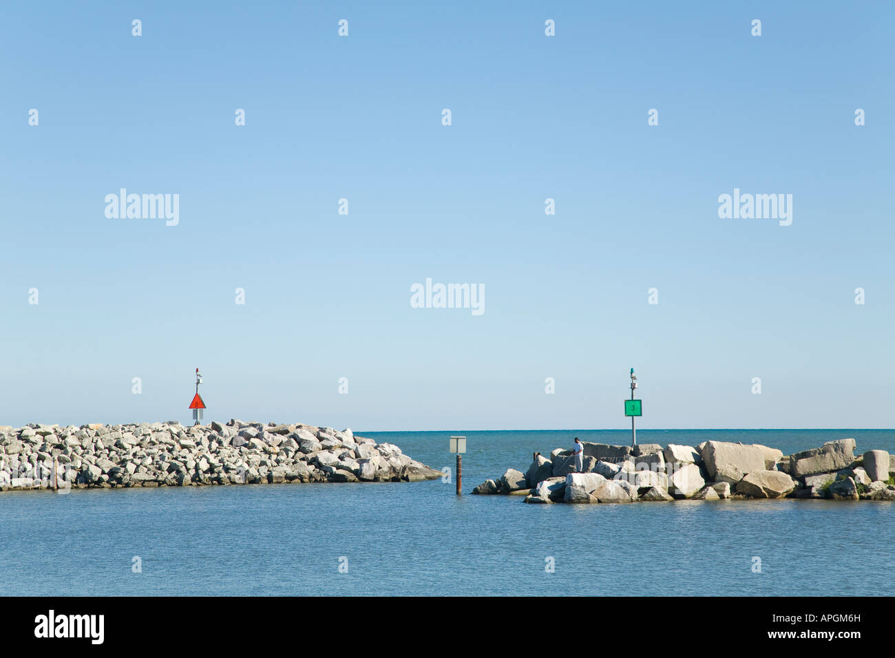 WISCONSIN Racine Red and green signs on breakwater marking channel Lake Michigan waters - Stock Image